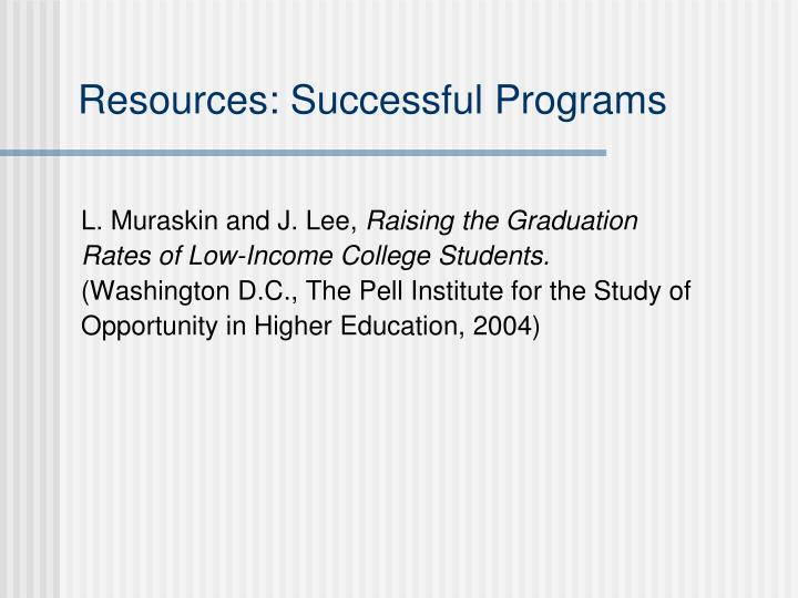 Resources: Successful Programs
