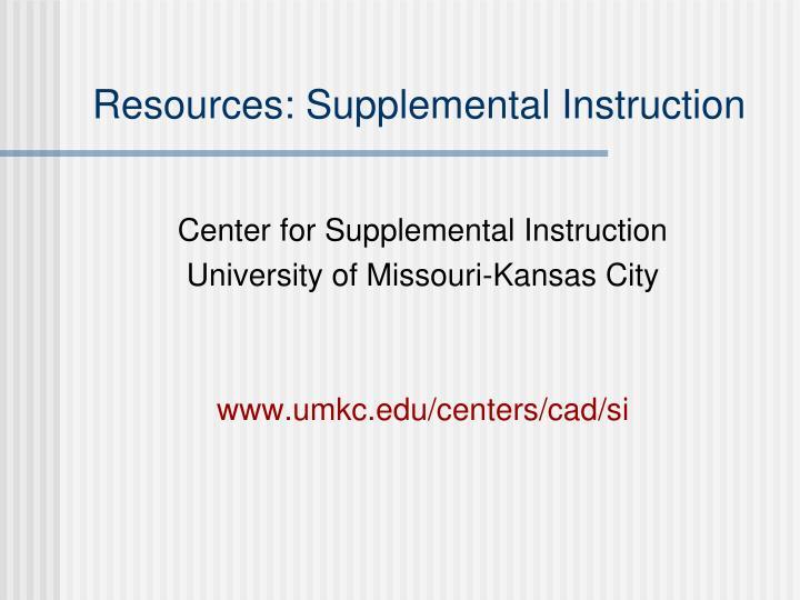 Resources: Supplemental Instruction