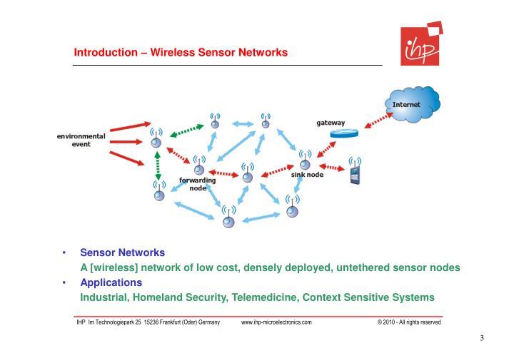 Introduction – Wireless Sensor Networks