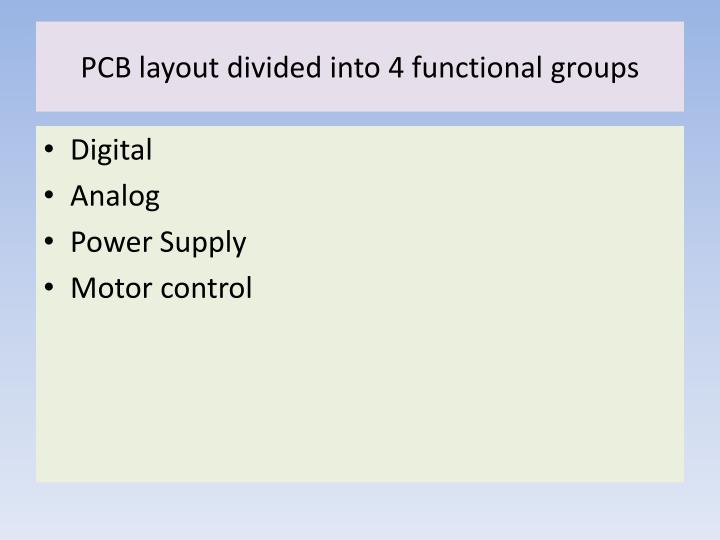 Pcb layout divided into 4 functional groups