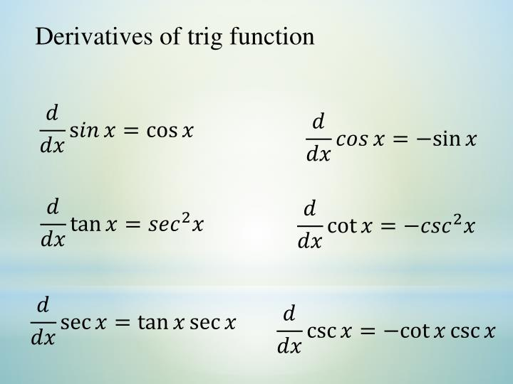 Derivatives of trig function