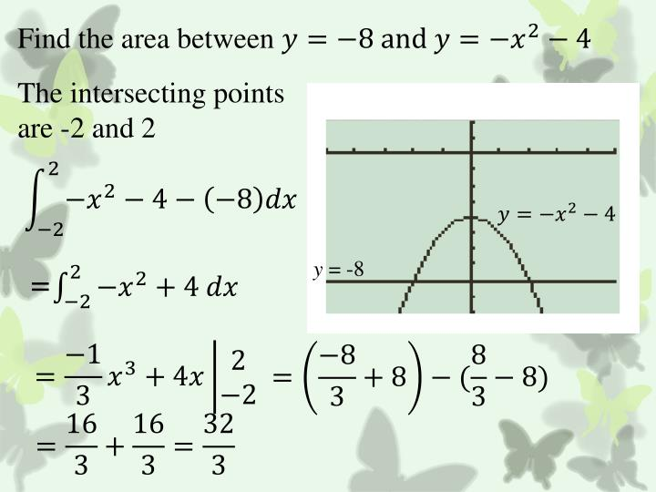 Find the area between