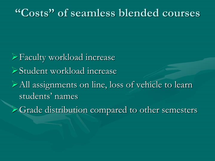 """""""Costs"""" of seamless blended courses"""