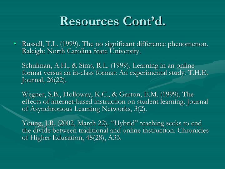 Resources Cont'd.