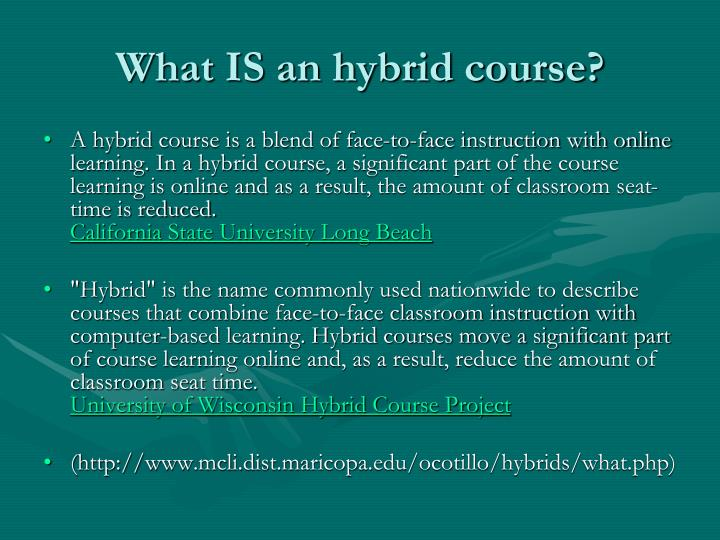 What IS an hybrid course?