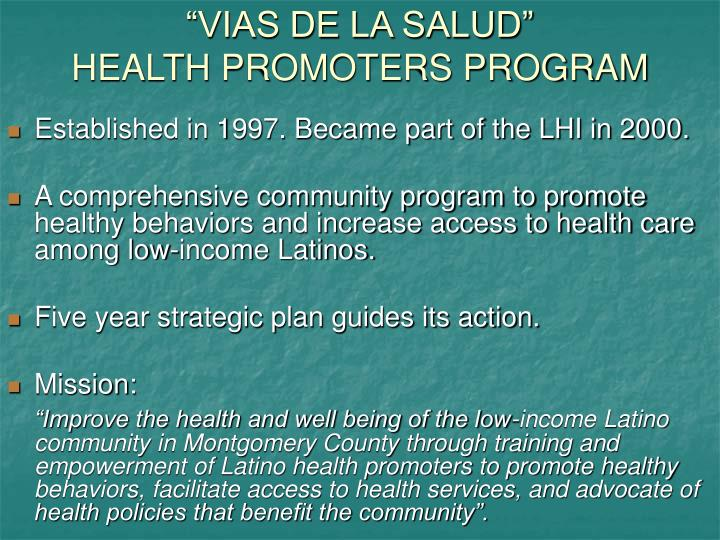 Vias de la salud health promoters program
