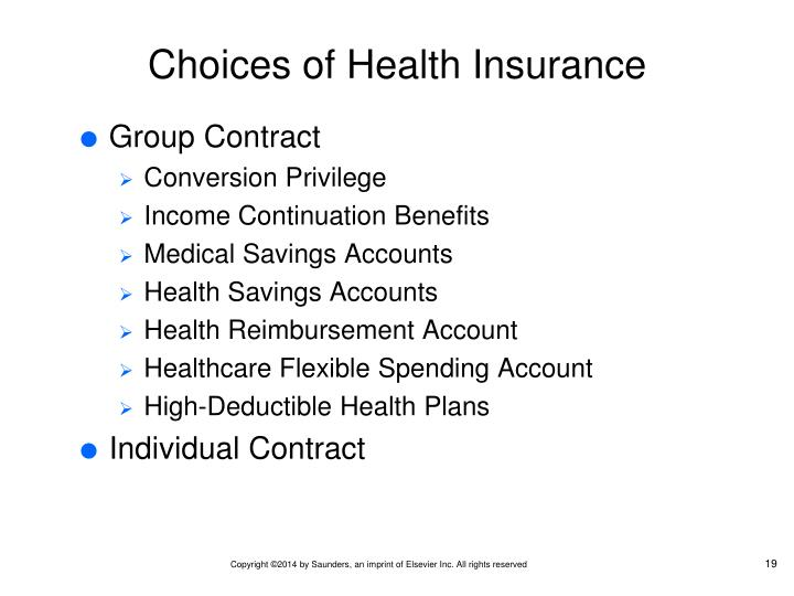 Choices of Health Insurance