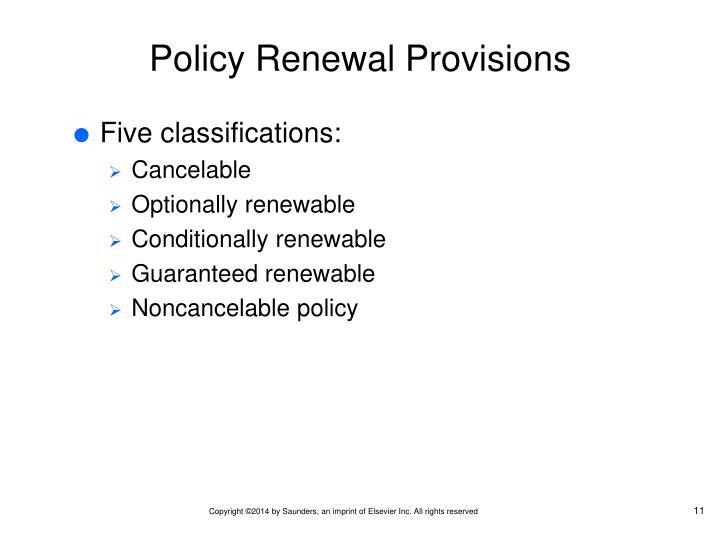 Policy Renewal Provisions
