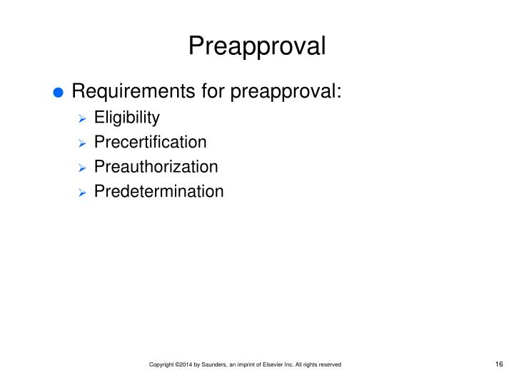 Preapproval