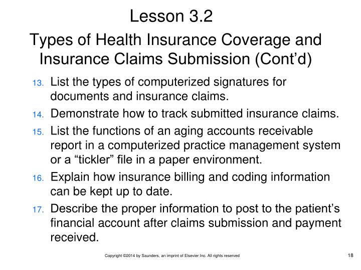 Types of Health Insurance Coverage and Insurance Claims Submission (Cont'd)