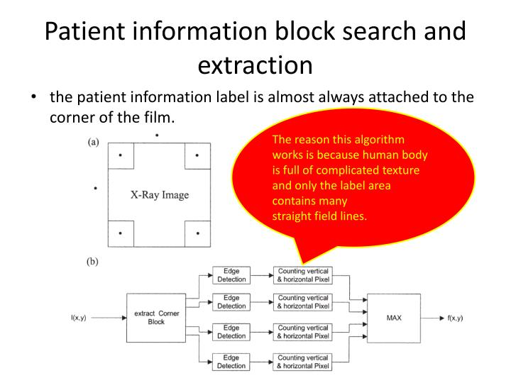 Patient information block search and extraction
