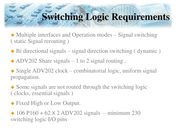 Switching Logic Requirements