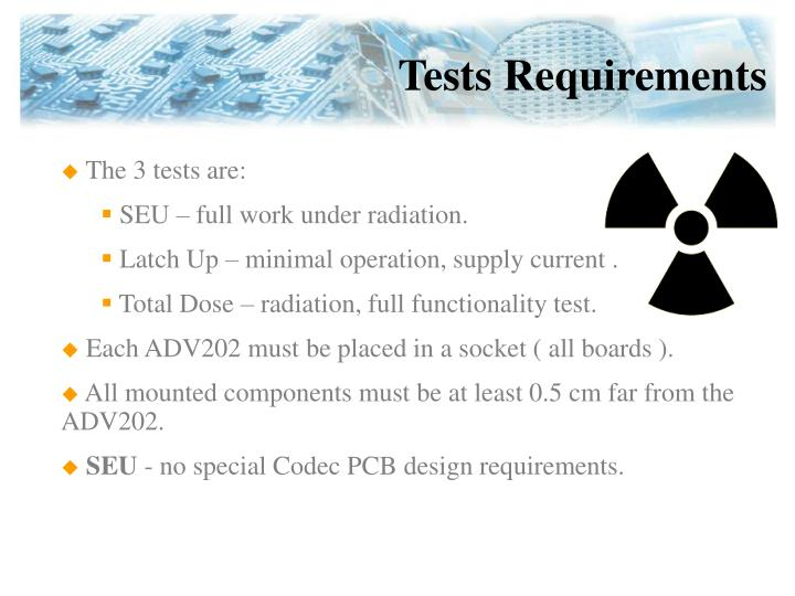 Tests Requirements
