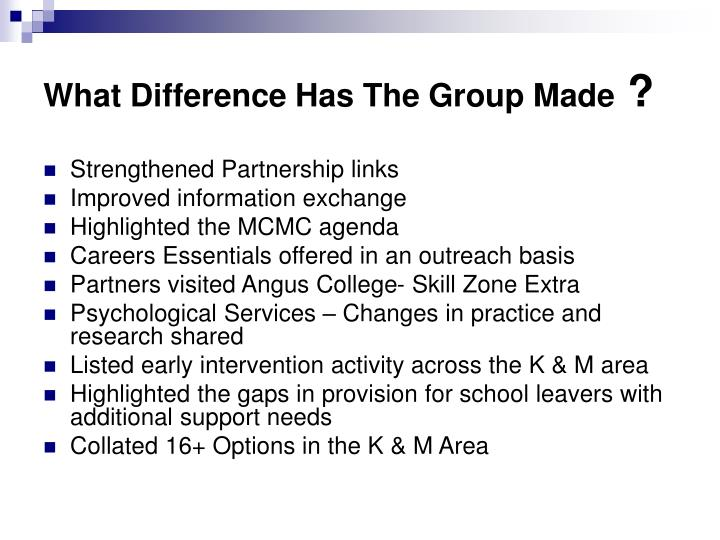 What Difference Has The Group Made