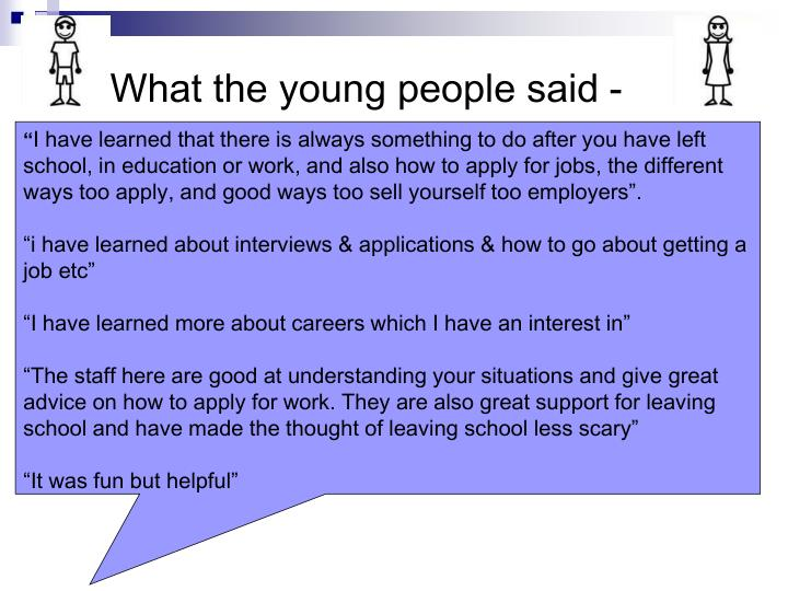 What the young people said -