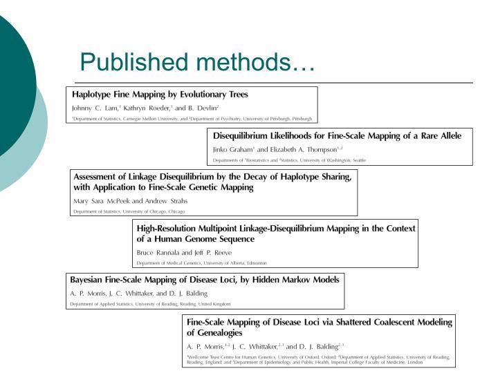 Published methods…