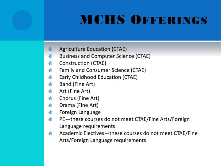MCHS Offerings