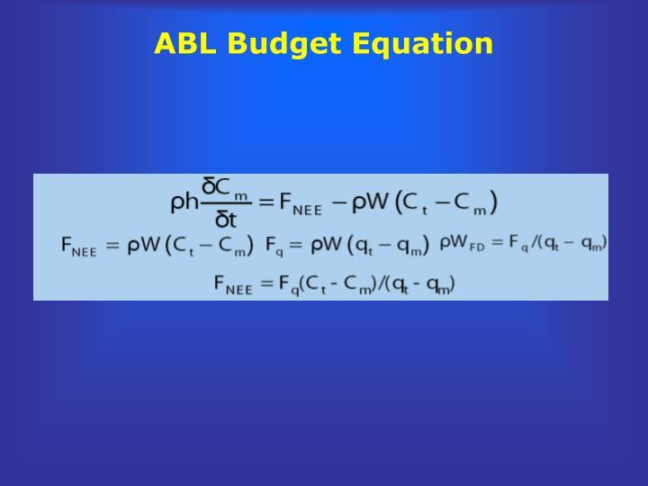 ABL Budget Equation