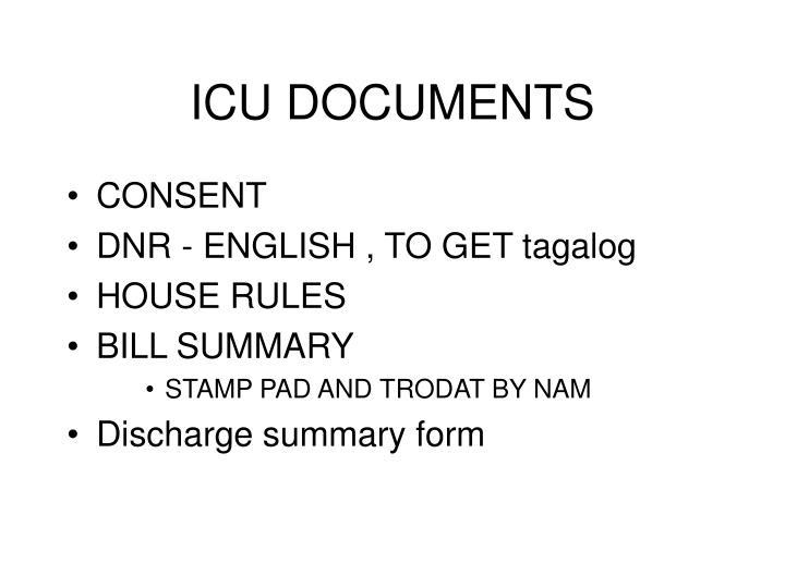 ICU DOCUMENTS