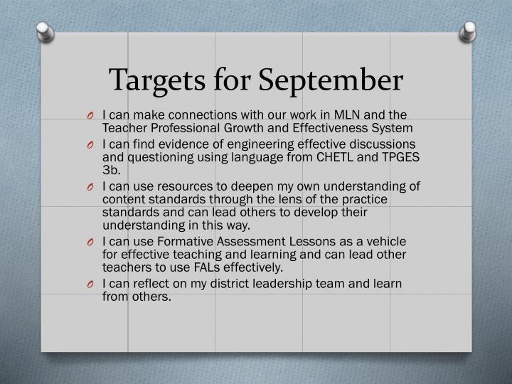 Targets for September