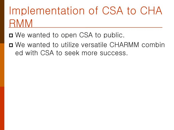 Implementation of CSA to CHARMM
