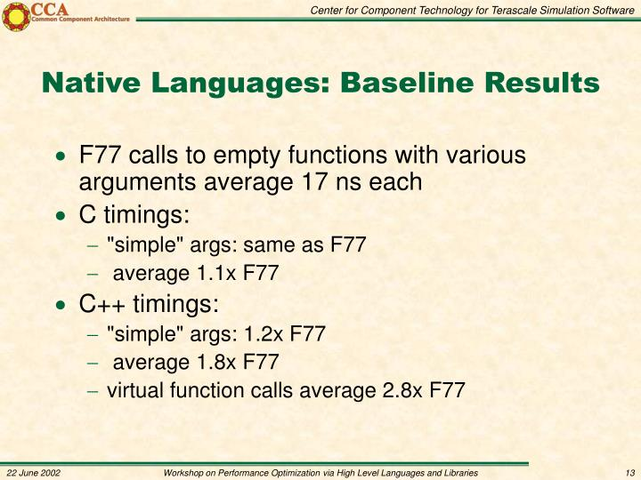 Native Languages: Baseline Results