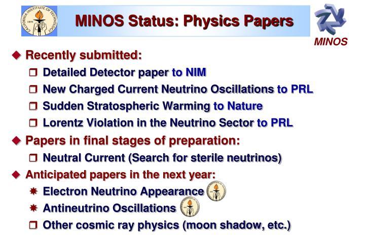 MINOS Status: Physics Papers