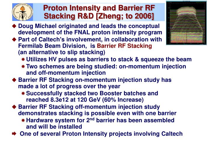 Proton Intensity and Barrier RF Stacking R&D [Zheng; to 2006]