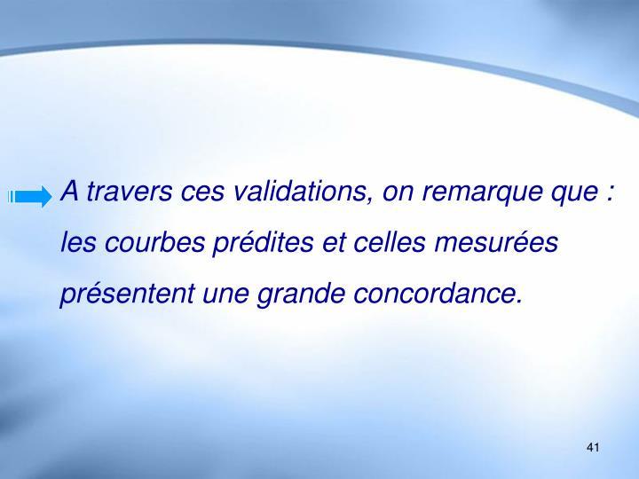 A travers ces validations, on remarque que : les courbes prédites et celles mesurées présentent une grande concordance.