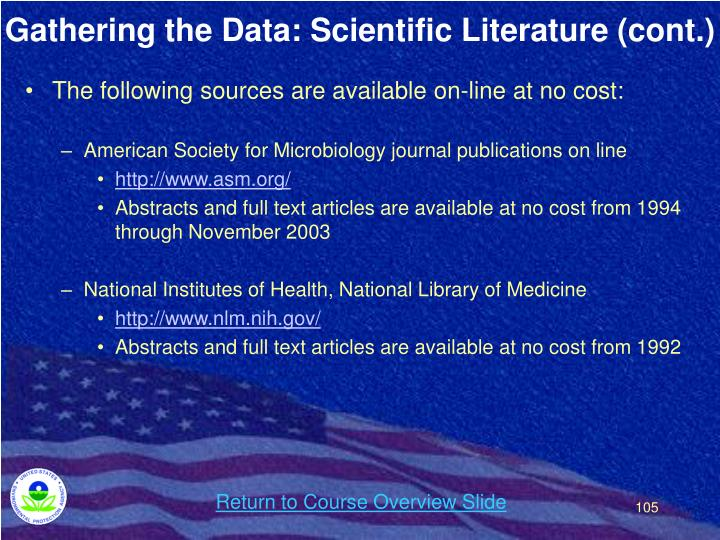 Gathering the Data: Scientific Literature (cont.)