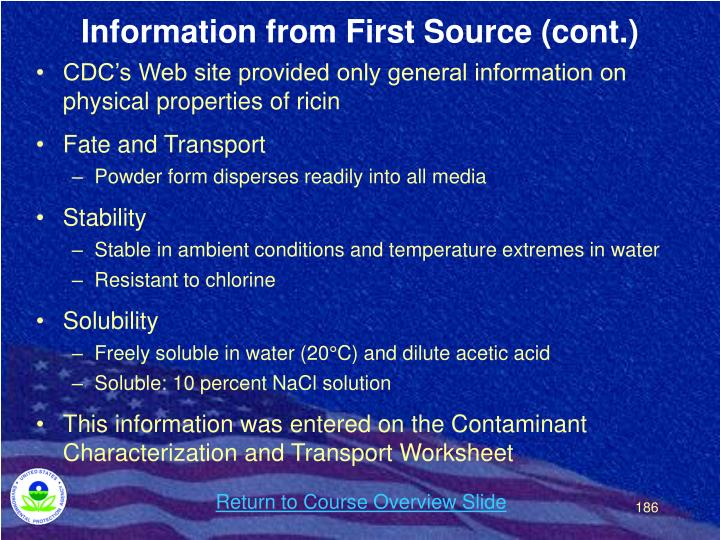 Information from First Source (cont.)
