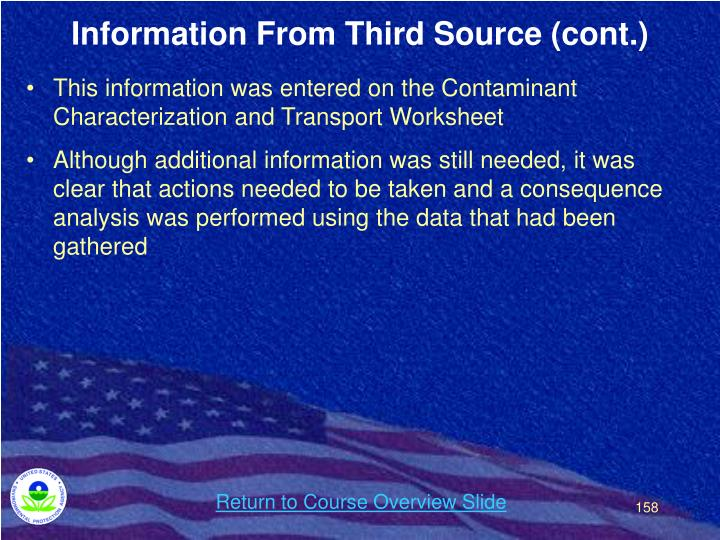 Information From Third Source (cont.)