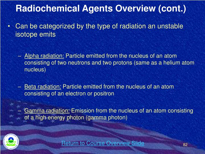 Radiochemical Agents Overview (cont.)