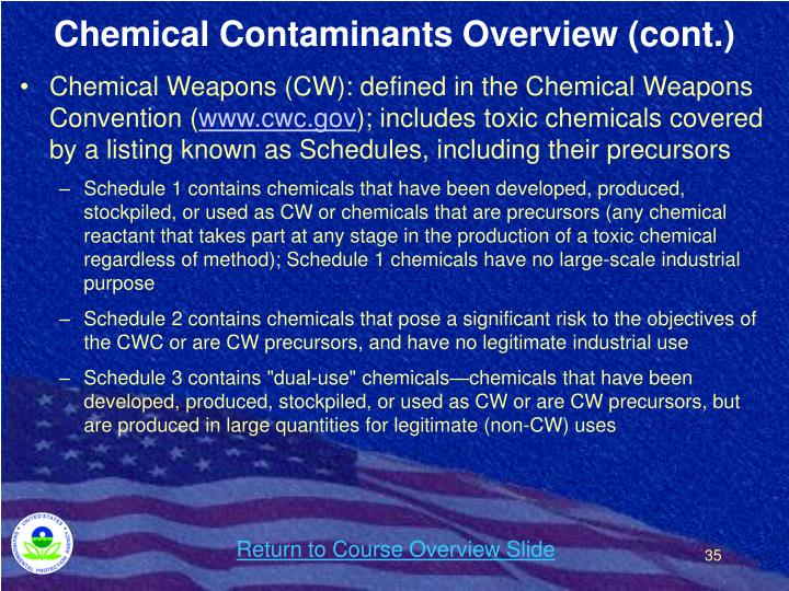 Chemical Contaminants Overview (cont.)