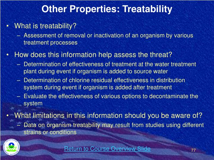 Other Properties: Treatability