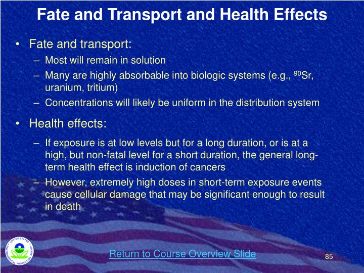 Fate and Transport and Health Effects