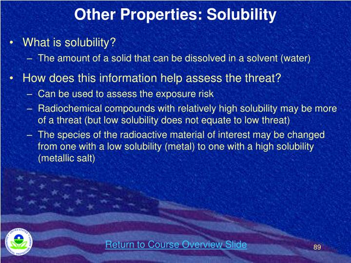 Other Properties: Solubility