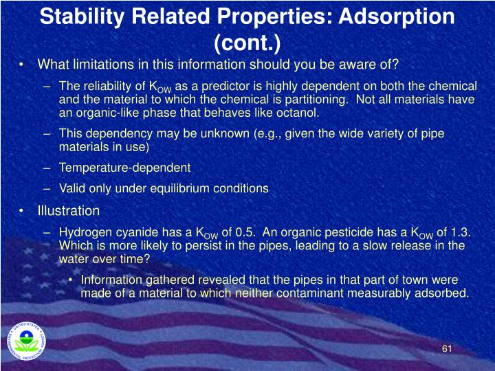 Stability Related Properties: Adsorption (cont.)