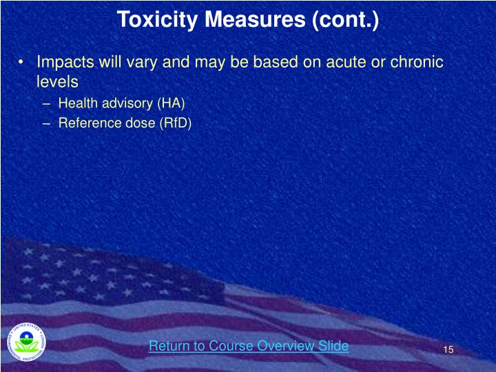 Toxicity Measures (cont.)