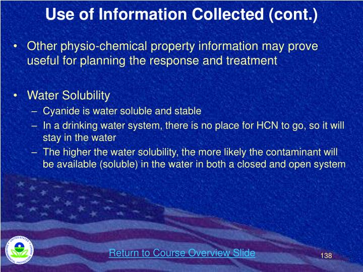 Use of Information Collected (cont.)