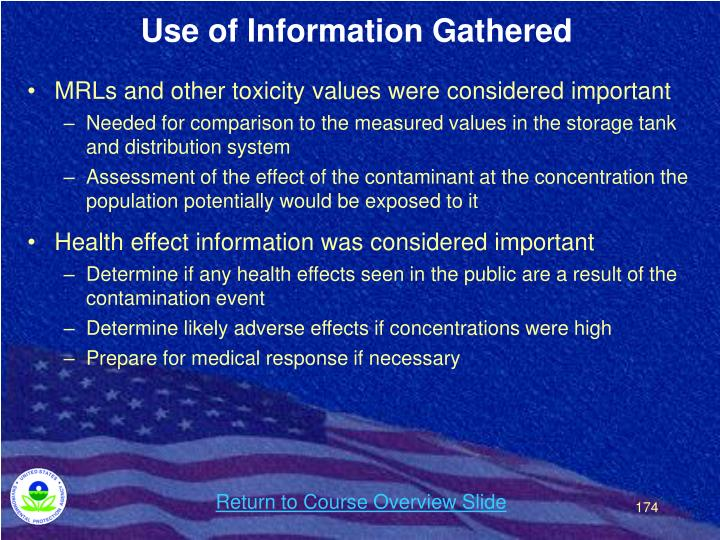Use of Information Gathered