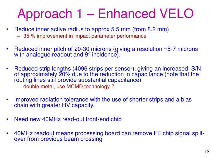 Approach 1 – Enhanced VELO