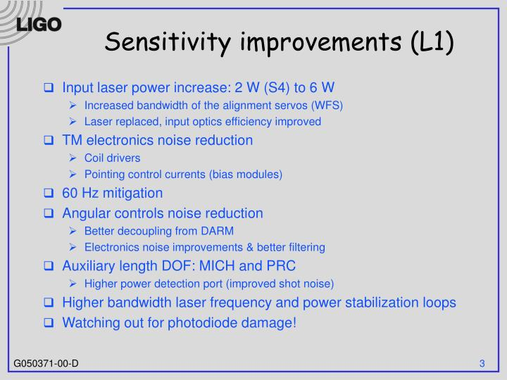 Sensitivity improvements l1