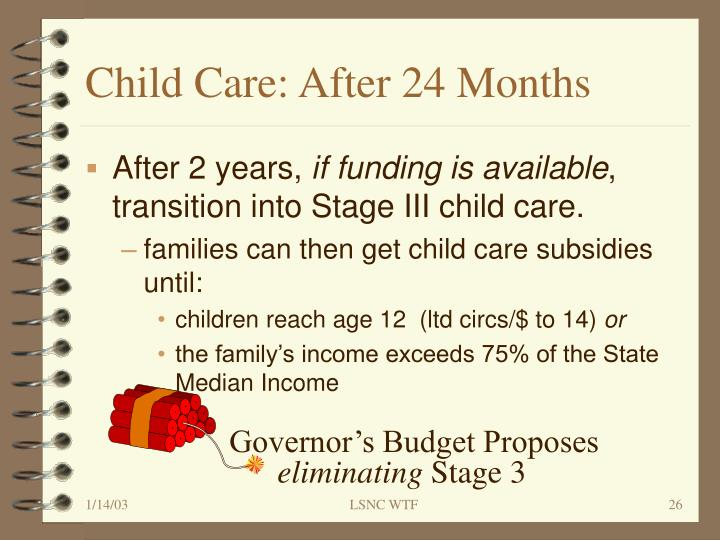 Child Care: After 24 Months