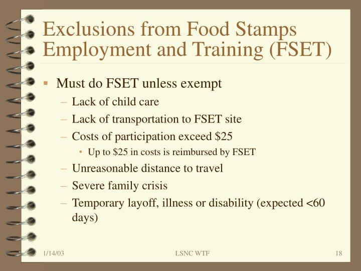 Exclusions from Food Stamps Employment and Training (FSET)