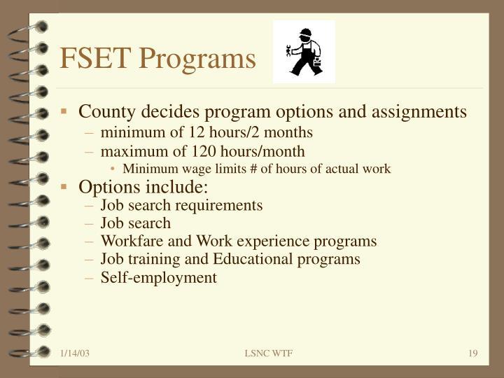FSET Programs