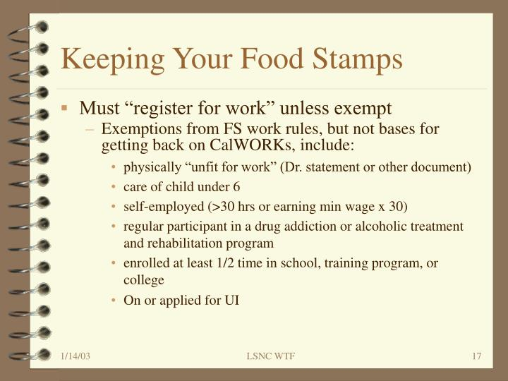 Keeping Your Food Stamps