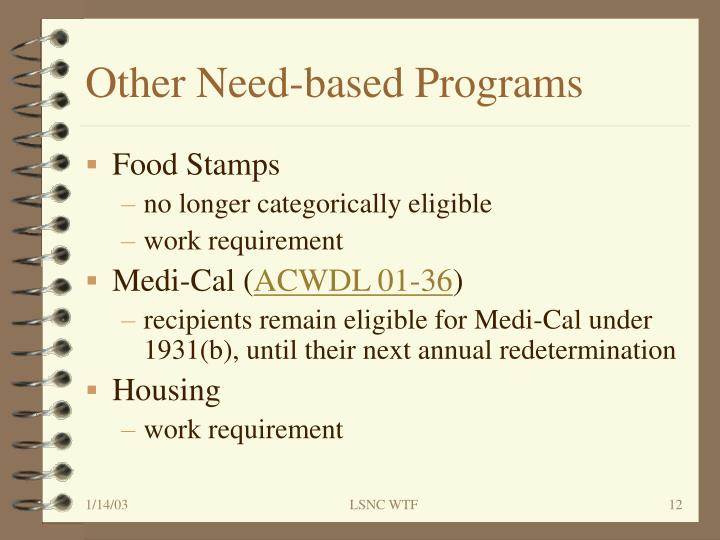 Other Need-based Programs