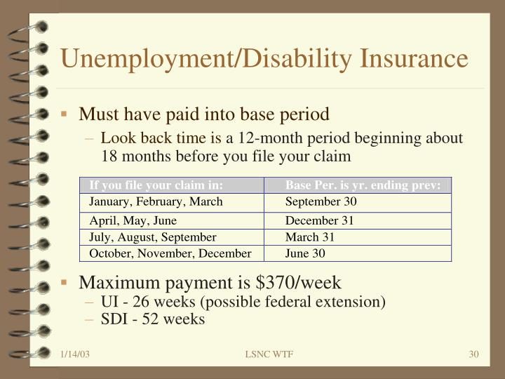 Unemployment/Disability Insurance