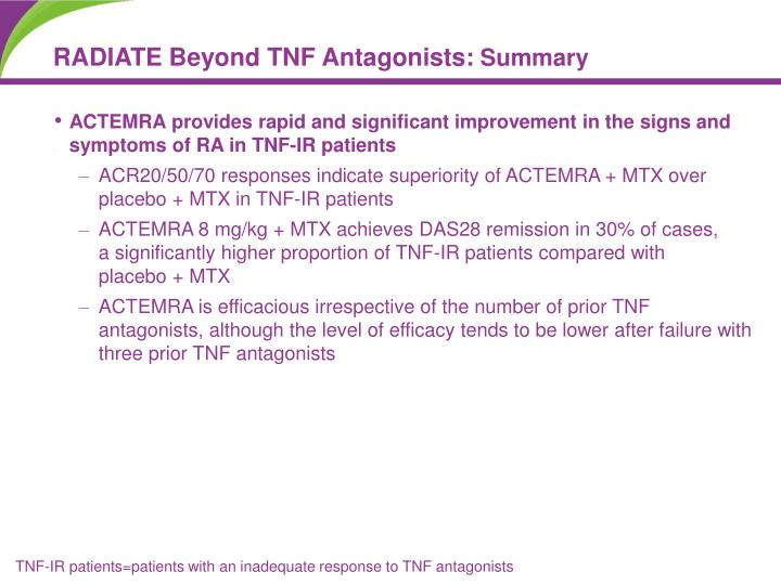 ACTEMRA provides rapid and significant improvement in the signs and symptoms of RA in TNF-IR patients
